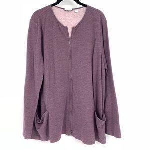 Pure J Jill Purple Zip Front Cardigan Pockets